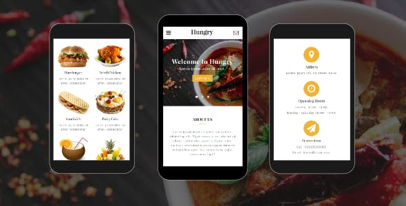 Hungry - Food and Restaurant Mobile Template