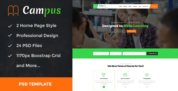 Campus - Education, Course, e-Learning and Events PSD Template - Business Corporate