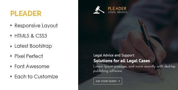 Pleader Law Business Template - Corporate Site Templates