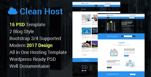 Clean Host -  Hosting Business Site PSD Template - Hosting Technology