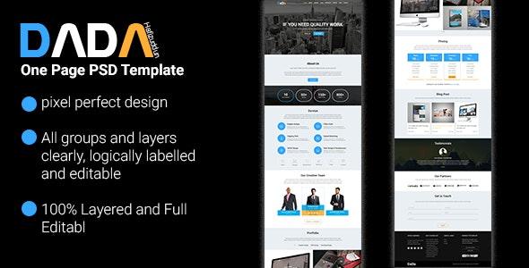 DaDa - Onepage Corporate Template - Creative Photoshop
