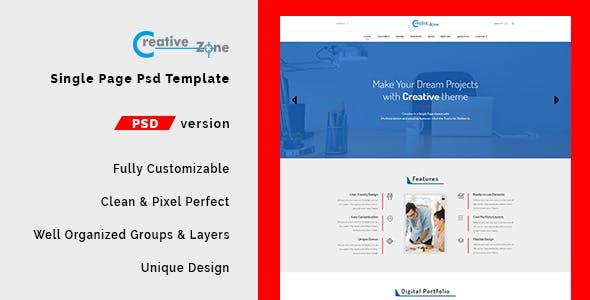 Creative Zone - Single Page PSD Template