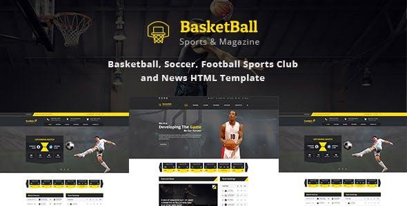 SportsMagazine Basketball, Soccer, Football Club and News HTML Template