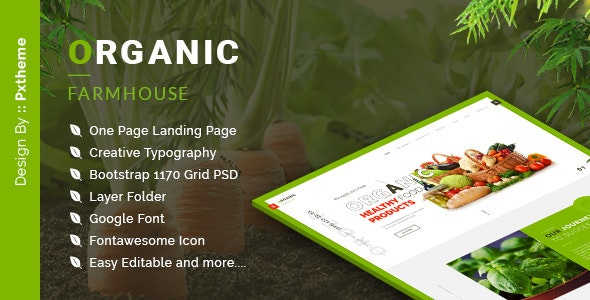 Organic Farmhouse One Page PSD Template - Food Retail