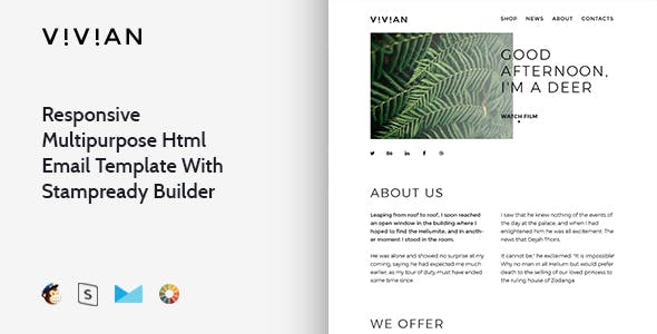 Vivian - Responsive Email + StampReady, MailChimp & CampaignMonitor compatible files
