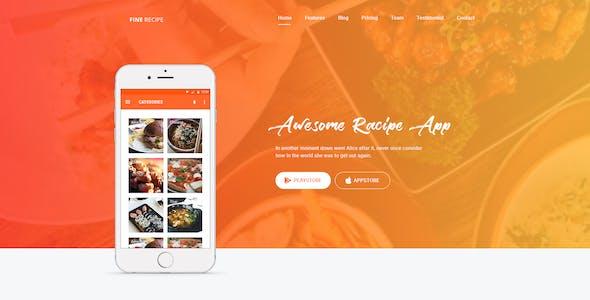 Fine Recipe App Landing page