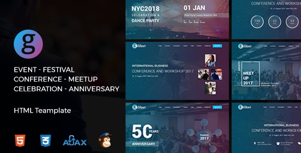 G-Event - Responsive Meetup Event & Conference Template - Events Entertainment