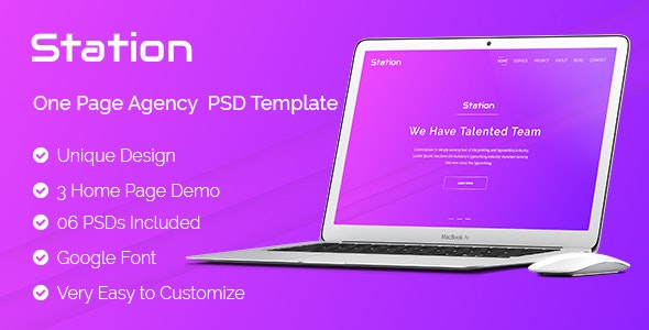 Station - One Page Agency Landing  PSD Template - Marketing Corporate