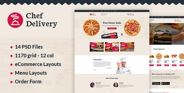 Chef Delivery — Food PSD Template - Food Retail