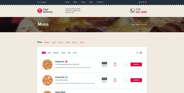 Chef Delivery — Food PSD Template