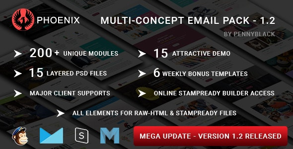 PHOENIX - Multi-Concept Responsive Email Pack with Online StampReady & Mailchimp Builders - Email Templates Marketing