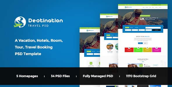 Destination - Hotels, Tours and Travel Booking PSD Template - Travel Retail