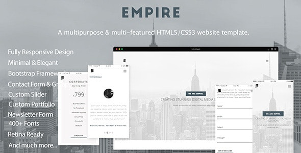 empire a multipurpose multi featured html5 css3 website