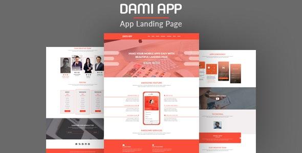 Dami app landing PSD Page Template - Software Technology