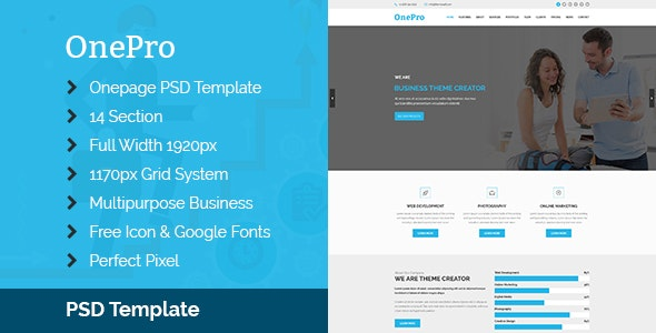 OnePro - Multipurpose & Onepage PSD Template - Business Corporate