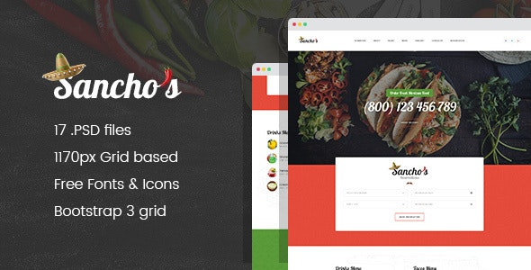 Sancho's - Mexican Food Restaurant and Delivery Service PSD Template - Food Retail