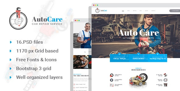 AutoCare - Car Repair Station PSD Template - Business Corporate