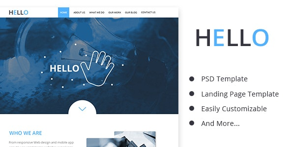 Hello_Business PSD Landing Page Template - Corporate Photoshop