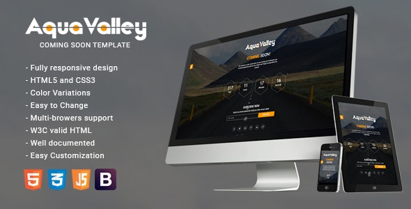 Aqua Valley - Responsive HTML5 Coming Soon Template - Under Construction Specialty Pages