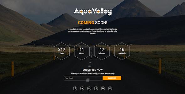 Aqua Valley - Responsive HTML5 Coming Soon Template
