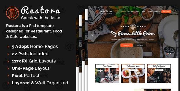 Restora - Restaurant PSD Template - Restaurants & Cafes Entertainment