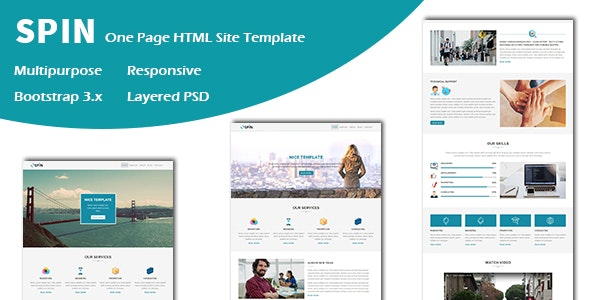 Spin - Multipurpose Responsive One page HTML Template - Corporate Site Templates