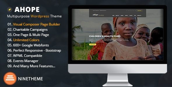 Nonprofit WordPress Theme - Ahope - Charity Nonprofit