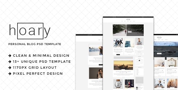 Hoary - Minimal Blog PSD Template - Personal Photoshop