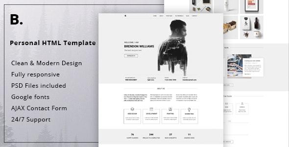 Brendon - Minimal Personal Blog Portfolio HTML Template - Virtual Business Card Personal