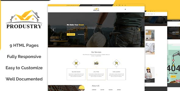 Produstry- Construction Multipage HTML Template