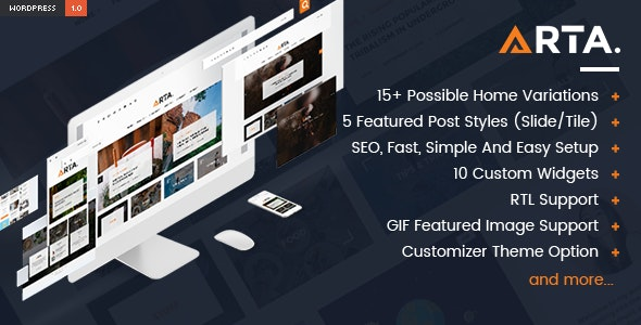 Arta - Simple and Clean WordPress Theme - Personal Blog / Magazine