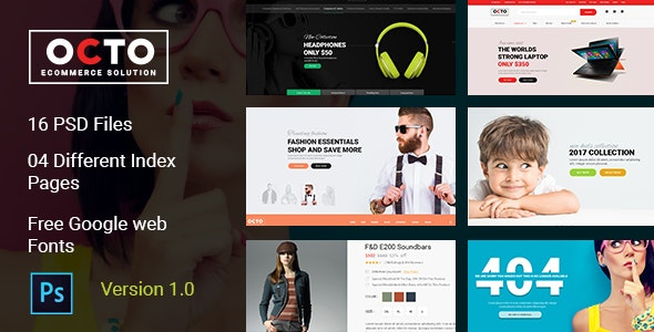 OCTO E-Commerce PSD Template - Retail Photoshop