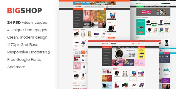 BigShop | Responsive Multi-Purpose eCommerce PSD Template - Shopping Retail