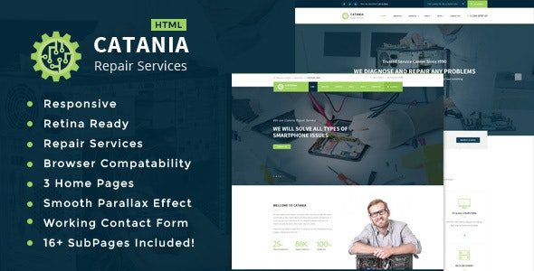 Catania - Computer, Mobile, Electronics and Phone Repair HTML Template - Business Corporate