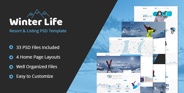Winter Life - Resort & Listing PSD Template - Business Corporate