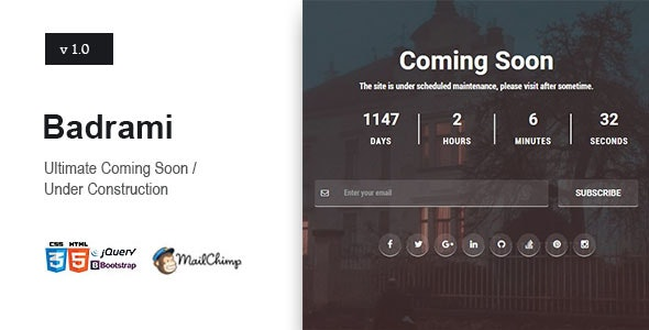 Badrami - Coming Soon One Page Responsive HTML - Under Construction Specialty Pages