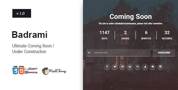 Badrami - Coming Soon One Page Responsive HTML
