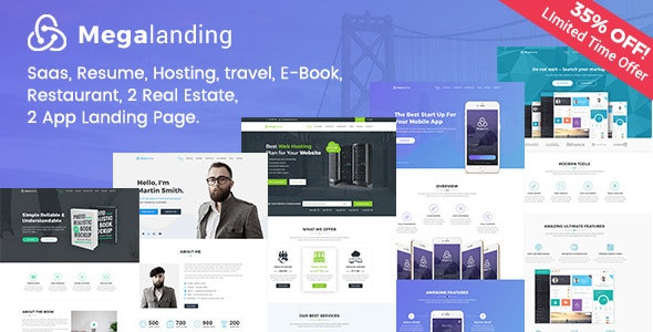Megalanding -  Multipurpose Landing Page - Photoshop UI Templates