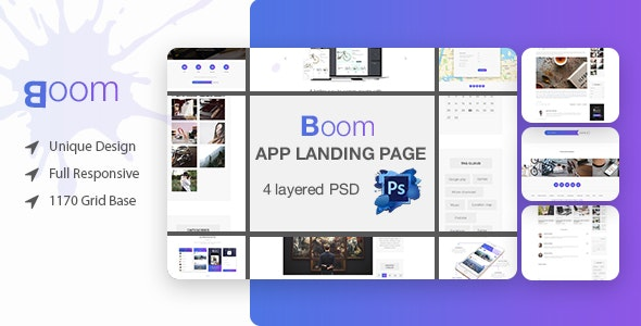 Boom Mobile App Landing Page PSD Template - Marketing Corporate