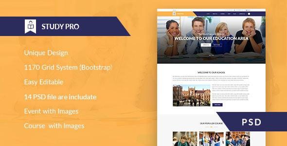 Study Pro - Education & University PSD Template - Corporate Photoshop