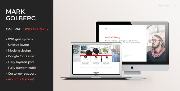 MG – Freelance Portfolio & Resume One Page PSD Template - Creative Photoshop