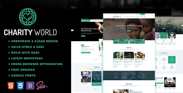 Charity World -  Crowdfunding & Nonprofit - Nonprofit Site Templates