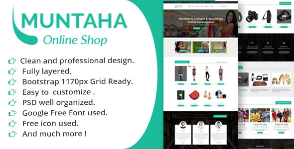 Muntaha Ecommerce PSD Template - Retail Photoshop