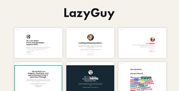 LazyGuy - Personal Landing Page Template for Everyone