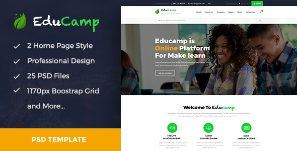 EduCamp - Education & Online Learning PSD Template - Corporate Photoshop