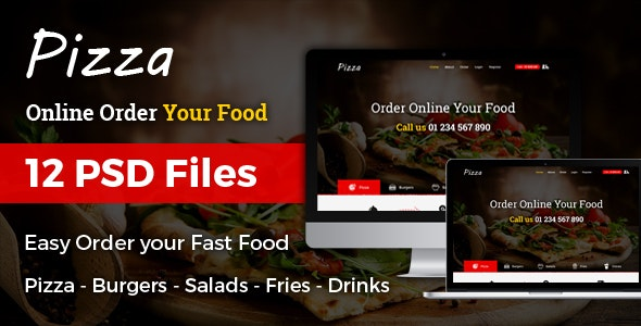 Pizza - Online Order Fast Food  PSD Template - Food Retail