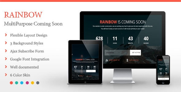 Rainbow - Coming Soon Template - Under Construction Specialty Pages