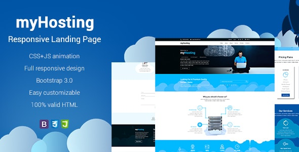 myHosting - Bootstrap Landing Page HTML Template - Hosting Technology