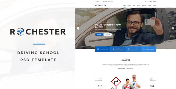 Rochester - Driving School PSD Template - Business Corporate