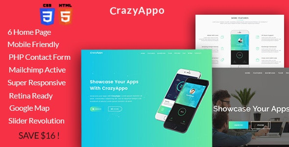 Crazyappo - Responsive App Landing Parallax Template - Apps Technology